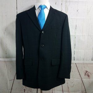 Linea Uomo 42R Black Windowpane Suit Blazer Sport